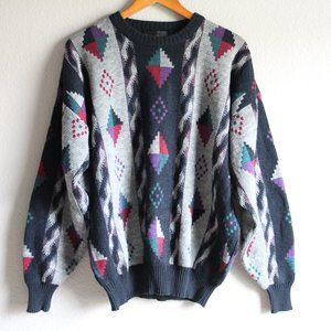 Vintage Grandpa Sweater Crew Michael Gerald 80s XL